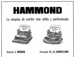 Publicidad española del modelo Nº 12 de escritura visible y teclado recto y curvo