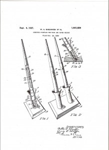 Patente de 1924 que desarrolla una base con soporte giratorio para estilográficas de escritorio