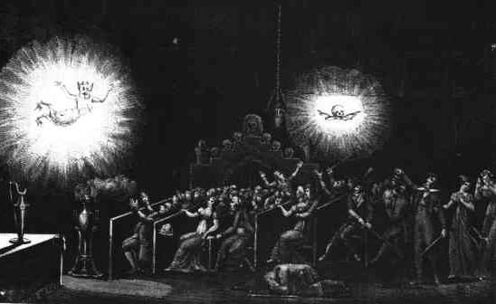 Escena de un espectáculo de fantasmagoría ejecutado por Robertson.