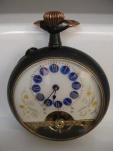 Relojbolsillo8diashierropavonadoydecoradoesferablancaazulFotoadicional