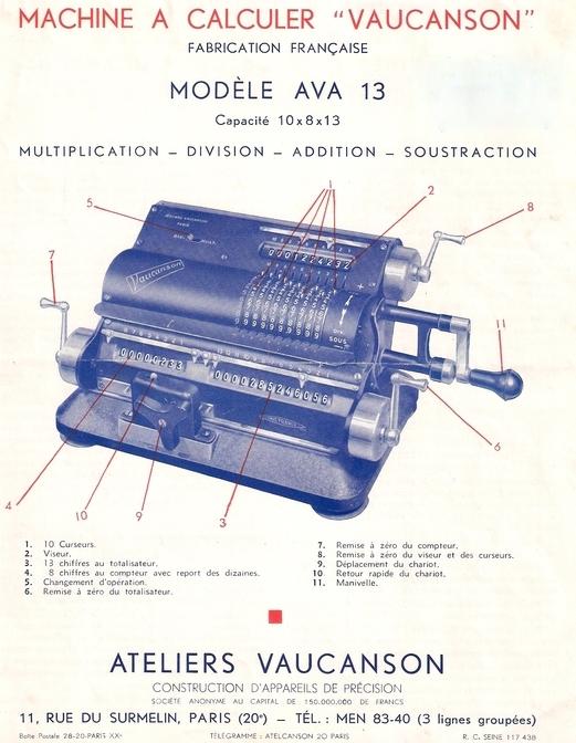 Instrucciones de la calculadora manufacturada por los Talleres Vaucanson