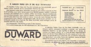 Descripción de la Copa Duward que premiaba al conjunto menos goleado de la Primera División. Fuente: www.todocoleccion.net