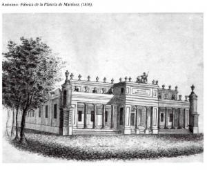 Dibujo de la fachada principal de Platería de Martínez, con toda su ornamentación inicial (1836). Fuente: Memoriademadrid.es
