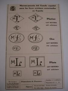 Marcas para las leyes mínimas autorizadas en España. Fuente: Reglamento 1935