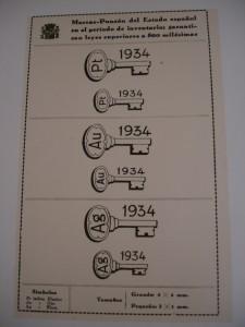 Contraste con forma de llave que garantiza que la plata supera el cincuenta por ciento de pureza. Fuente: Reglamento 1935