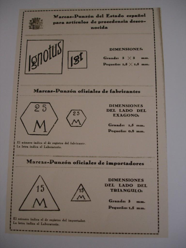 Marcas de fabricante e importador y contraste para artículos de factura desconocida. Fuente: Reglamento 1935