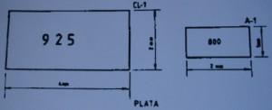 Croquis de la forma que deben presentar los contrastes actuales de plata. Fuente: Real Decreto 1988