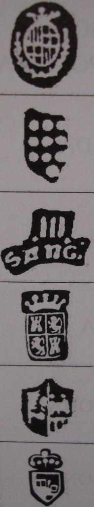 Punzones de ciudad relacionados con escudos de armas locales. Fuente: 'Marcas de la plata española y virreinal'