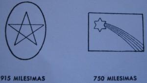Punzones de plata de primera y segunda calidad. Fuente: Reglamento 1935
