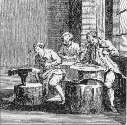 Plateros trabajando a la manera tradicional del último tercio del XVIII. Fuente: L'Enciclopedie. Diderot y D'Alembert