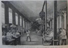 Taller principal de la fábrica plateria modelo de Luis Espuñes. Fuente: Ilustracion Española y Americana (1885)