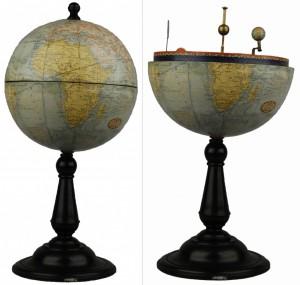 Precioso globo terráqueo de los primeros años del siglo XX elaborado con la técnica de la cromolitografía y atribuido al castellonense Benjamín Tena de Villafranca del Cid