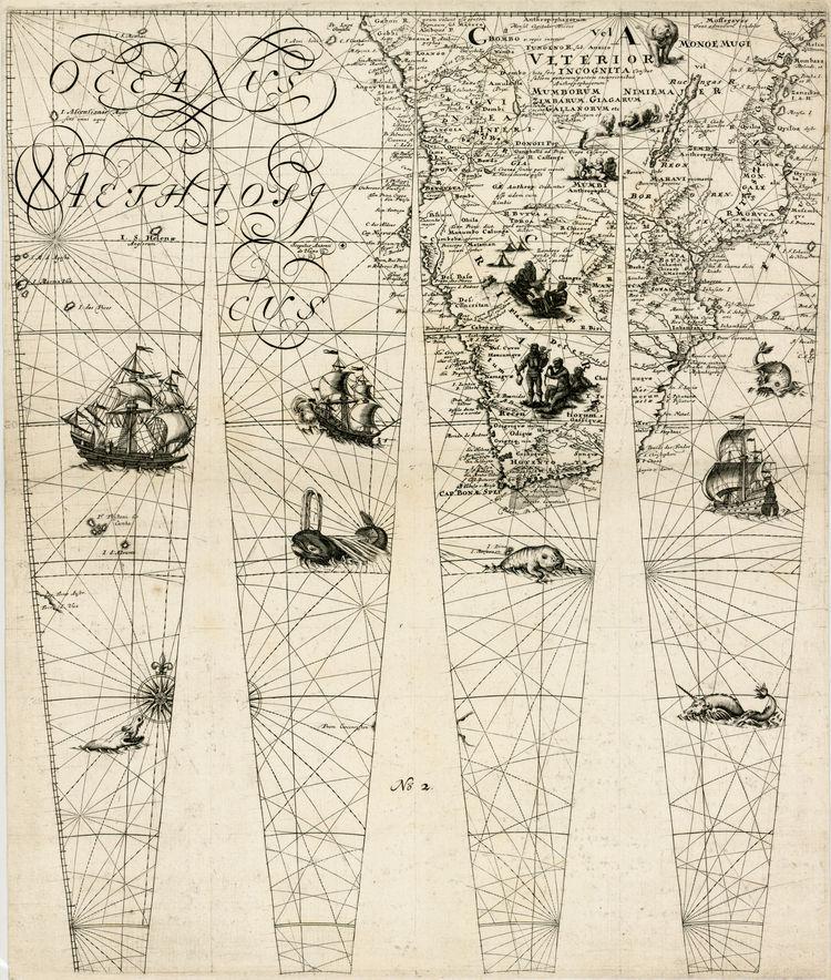 Detalle de un mapamundi de África del Sur en blanco y negro diseñado para revestir un globo terráqueo y publicado en 1751 por Johann Friedrich Endersch
