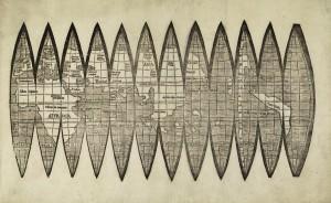El alemán Martin Waldseemüller fue el primero en publicar un mapa impreso para recortar y adherir en los globos dividido en doce husos
