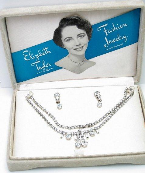 Juego de joyería de fantasía creado por Leo Glass e inspirado en Elizabeth Taylor. Fuente: www.illusionjewels.com