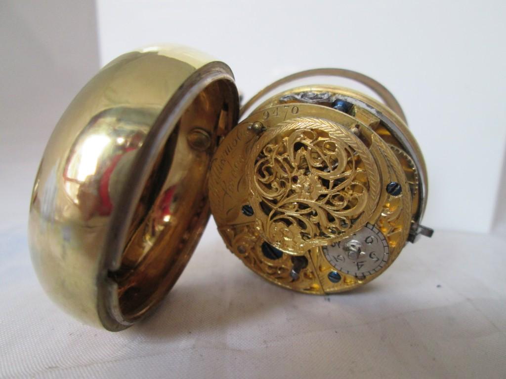 Reloj de bolsillo de escape de rueda catalina fabricado en Londres por la firma Joseph Williamson en la última mitad del siglo XVIII