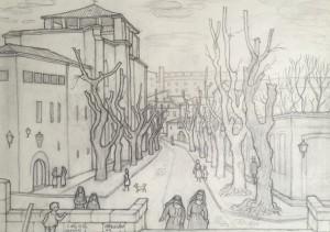 La calle de las Úrsulas de la capital salmantina a principios de los sesenta