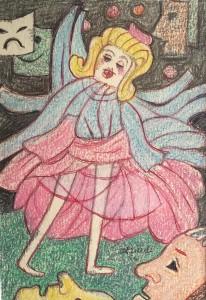 Dibujo a color de escena carnavalesca pintada a comienzos de los cincuenta