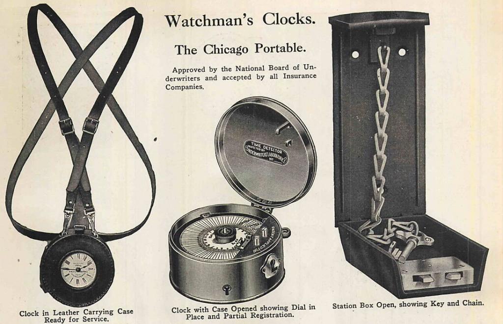 Reloj de sereno con funda protectora de cuero con correa y estación adjunta con la llave de registro