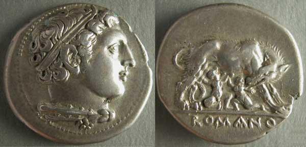 """Moneda (didramma) de la serie """"romano-campana"""": Hércules y la loba que lacta los gemelos"""